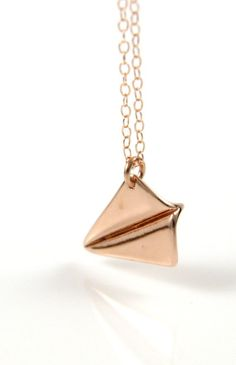 Rose Gold Paper Airplane necklace simple rose