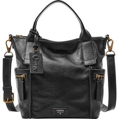Fossil Emerson Medium Satchel Satchel ($198) ❤ liked on Polyvore featuring bags, handbags, black, leather handbags, black satchel handbag, leather man bag, handbags & purses and man bag