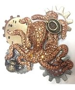 Steampunk Octopus Teapot teacup Egyptian Revival Rhinestone Crytsal  Designer Fashion Pin Brooch Earrings Bracelet Cuff Bangle Vintage Signed Jewelry