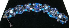 VINTAGE WOMEN'S BRACELET MADE BY KRAMER STUNNING BLUE RHINESTONES W/SAFETY CHAIN #KRAMER