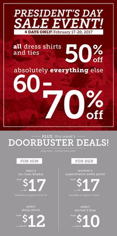 VanHeusen/ IZOD GOLF Presidents Day Sale Event starts today Plus doorbusters deals Valid 2/17 through 2/20 Exclusions may apply.