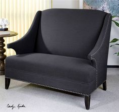 Slate scultped arm loveseat, home, decor, chairs, ottomans, Chairs & Ottomans   Katzberry Home Decor