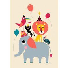 """Ingela Arrhenius: Plakat  """"Animal Party"""" (50 x 70 cm)"""
