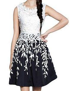 Women's Leaf Print Lace Splicing Sleeveless Dress