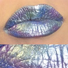 So obsessed with @terribeaumua 's incredible rainbow foil lip using #sugarpill Tiara metallic silver eyeshadow with lotsa colorful Sugarpill eyeshadows patted on top. Tiara has been discontinued, but we now have Grand Tiara, which is like Tiara on steroids!