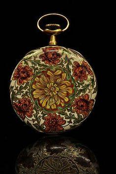 Antique Original 14k Gold Enamel Pocket Watch | eBay