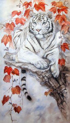 Autumn beauty by IrenaDem Tiger animal art Tiger Drawing, Tiger Painting, Tiger Art, Pet Tiger, Wallpaper Tigre, Tiger Wallpaper, Animal Sketches, Animal Drawings, Art Drawings