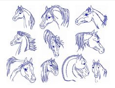Redwork Embroidery Designs To Download | Instant Download Machine Embroidery Designs Horse Heads Set of 10 Size ...