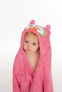 Pink Owl Hooded Towel by RubADubBuddies on Etsy, $35.00