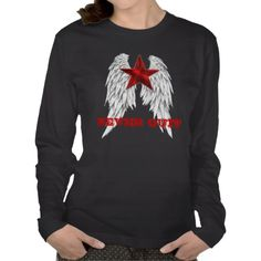 Angle Wings Heart Never Quit Ladies T- Shirt