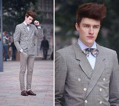Self Designed Floral Print Bow Tie, Spadari Shirt, Daniel Hechter Paris Checked Blazer, H Bracelets, H Chinos, Zara Fringed Bluchers