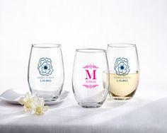 Personalized 9 Oz. Stemless Wine Glass - Botanical - By Kate Aspen