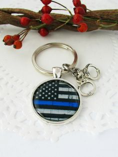 The Thin Blue Line US Flag Image Keychain with by JulessJewels