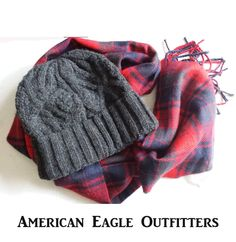 set beanie gray hat and red checker #scarf by American Eagle Outfitters NEW visit our ebay store at  http://stores.ebay.com/esquirestore
