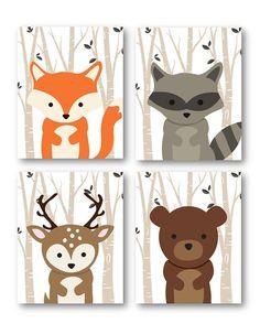 Decoración Animal de bosque, bosque amigos en 5 x 7 o 8 x 10 o 11 x 14 vivero arte, lindo para un regalo de la ducha de bebé Ideal para dormitorio sala de juegos, guardería o un niño pequeño de su hijo. Regalo del gran bebé ducha así. Este listado está para cuatro 4 copias solamente.