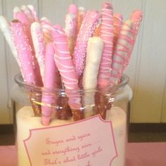 White chocolate dipped pretzels. Super easy to make and so cute!!! Perfect for any party! by angela