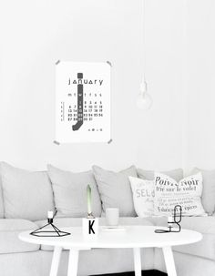 Light Grey Corner Couch, Hanging Lightbulb, Minimalistic Calendar // foggy