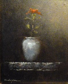 """Floral with Blue Vase"" by Steve Creighton. Stunning still life with a single red rose."