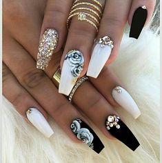 Different Nail Designs Ideas beautiful nail designs trendy nail design popular nail Different Nail Designs. Here is Different Nail Designs Ideas for you. Different Nail Designs you should stay updated with latest nail art designs nail. Fancy Nails, Trendy Nails, Cute Nails, Classy Nails, Glittery Nails, Fabulous Nails, Gorgeous Nails, Perfect Nails, White Nails With Gold