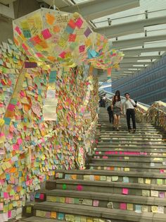 """Named for the Beatles legend and protest icon, the ""Lennon Wall"" is a colorful collage of sticky notes with handwritten messages from democracy demonstrators.""  -- Huffington Post"