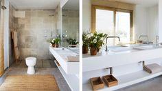Abaton developments . bathroom . open shower . wooden shower floor .