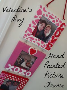 DIY Valentine's Day Hand Painted Triple Picture Frame - a perfect home made V-day gift!
