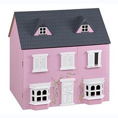 Traditional Pink Wooden Dolls House ASDA