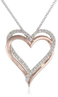 14k Rose Gold Plated Sterling Silver Diamond Double Heart Pendant Necklace