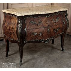 Antique Furniture | French Decor |  Antique French Louis XV Bombe Marble Top Commode | www.inessa.com
