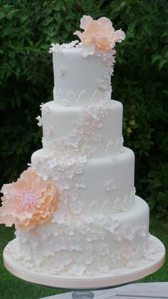Blossom and Peony peach wedding cake