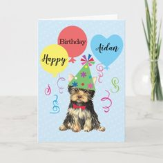 Birthday Party Balloons Yorkie Card   westie gifts, pug wallpaper, gifts dog lovers #christmasiscoming #pugsocks #pugcollections Dog Lover Gifts, Dog Gifts, Dog Lovers, Birthday Greeting Cards, Custom Greeting Cards, Art Beagle, Beagle Dog, Cute Baby Pugs, Pug Wallpaper