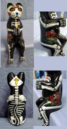 Day of the Dead Cat Kitty Ooak Statue Cat with a Prayer Dia De Los Muertos