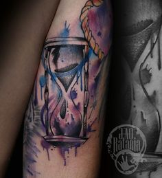 Ampulheta tattoo time tempo aquarela watercolor