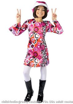 Child Feelin Groovy Costume DressHat