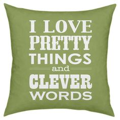 Add a pop of color to your favorite arm chair or chaise with this eye-catching pillow, showcasing a charming typographic motif.   Pro...