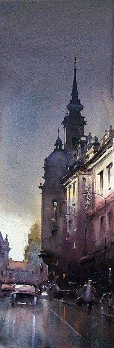 watercolor-dusan-djukaric-after-the-rain-19x56-cm