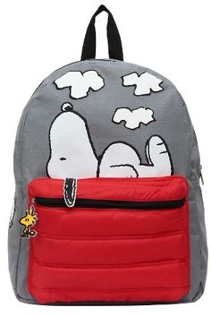 """Peanuts 16"""" Snoopy and Woodstock Kids' Backpack - Gray/Red {affiliate link}"""