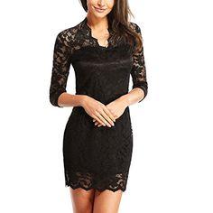 DJT Womens V Neck 3/4 Sleeve Lace Crochet Mini Party Dress