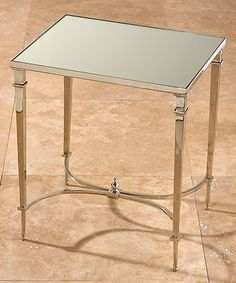 Rectangular French Square Leg Table - Nickel & Mirror - FURNITURE - Tables - Side and Occasional Tables