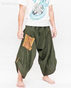 Hmong Tribal Pocket Samurai Harem Pants Unisex Trousers (Dark Green)