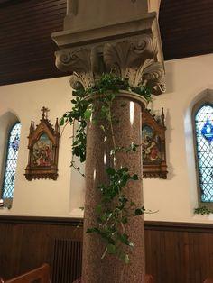 Ivy on pillars in church
