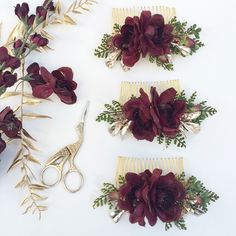 Winter Wedding Bridesmaids Combs- Burgundy flower combs- Holiday Hair Accessories- Bridesmaids Gift- Gold Wedding- Gold Hair Comb by OhDinaFlowerCrowns on Etsy https://www.etsy.com/listing/490151713/winter-wedding-bridesmaids-combs