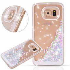 Galaxy S7 Edge Case, Wuloo Samsung Galaxy S7 Edge Hard Case Fashion Creative Design Flowing Liquid Floating Luxury Bling Glitter Sparkle Love Heart Hard Case for Girls Children (PinkBlue)