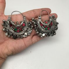 "Vintage Afghan Kuchi Waziristani Tribal Bells Jingle Hoop Glass Earrings, SE141 Weight: About 45 Grams Length: About 2.5"" Width: About 2.25"" ***Buyer will receive Exact Item pictured! Please look at t                                                                                                                                                                                 More"