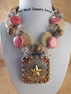 Cowgirl Necklace Set  Chunky Pink Howlite by Outwestjewelry, $58.95