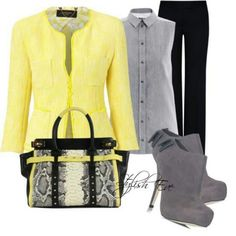 Love the style of the jacket. Love the outfit concept. Not a fan of bag or the fact I can't wear this shade of yellow Shades Of Yellow, Grey Yellow, Gray, Cool Outfits, Fashion Outfits, Womens Fashion, Fashion Ideas, Early Spring Outfits, Cold Weather Fashion