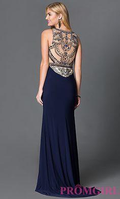 Navy Blue Floor Length Prom Dress with Sparkling Jewel Embellished Bodice at PromGirl.com