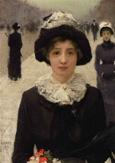 In the street (1889) by Sir George Clausen (1852-1944), English (colourthysoul)