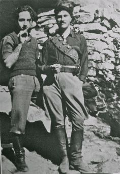 Giorgios Doundoulakis who was Head of the Intelligence network in Herakleion and 'Michali' (Patrick Leigh Fermor) in Anogeia (Ανώγεια), Photo & Caption featured in The Cretan Runner: His Story Of The German Occupation by George Psychoundakis.