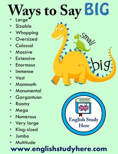 20 Ways To Say BIG in English Large Sizable Whopping Oversized Colossal Massive Extensive Enormous Immense Vast Mammoth Monumental Gargantuan Roomy Mega Numerous Very large King-sized Jumbo Multitude Learn English Grammar, English Vocabulary Words, English Fun, Learn English Words, English Phrases, English Language Learning, English Study, English Lessons, Teaching English